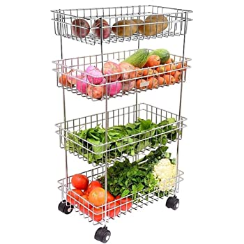 Sajani Stainless Steel Portable Design 4 Layer Fruit and Vegetable Basket/Modern Kitchen Storage Rack