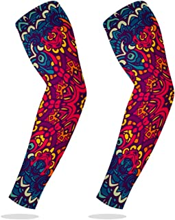 Sports Compression Arm Sleeve Cooling Sun Protection for Baseball Basketball Football Running Driving Cycling for Boys Youth Girls Kids Men Women with Abstract Ethnic Colorful Mandala - 1 Pair