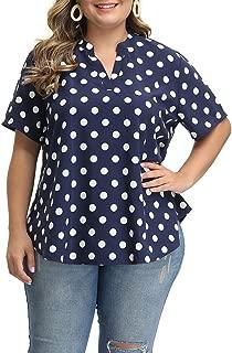 Allegrace Women's Plus Size Blouses Casual Polka Dot Short Sleeve Loose Summer Tops