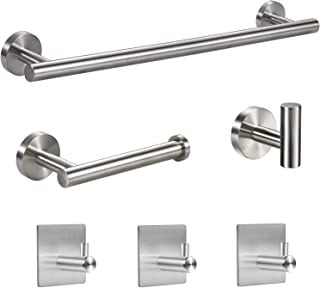 YGIVO Bathroom Hardware Set, 6 Pieces Brushed Nickel SUS304 Bathroom Accessories Include 16 Lengthen Hand Towel Bar, Towel Hooks, Toilet Paper Holder and 3 Adhesive Hooks Stainless Steel-Towel Set