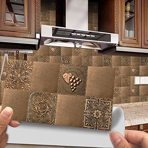 Hiseng 24/48 Piezas Rectángulo Adhesivos Decorativos Azulejos Pegatinas para Baldosas del Baño, Mármol Patrón Mosaico Estilo Cocina Resistente al Agua Pegatina de Pared (Cobre marrón,48Piezas)