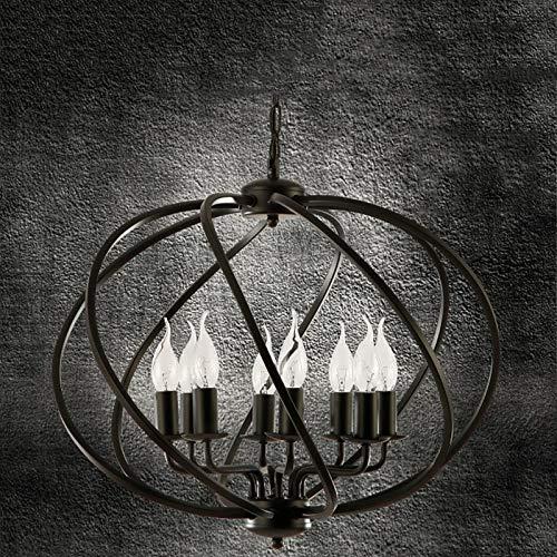 Candelabro 8 Lámparas Hierro Industrial Retro Lámpara Colgante Vela Romántica Americana E14 Lámpara Colgante Altura Ajustable Fácil Instalar para Sala Estar Comedor Dormitorio