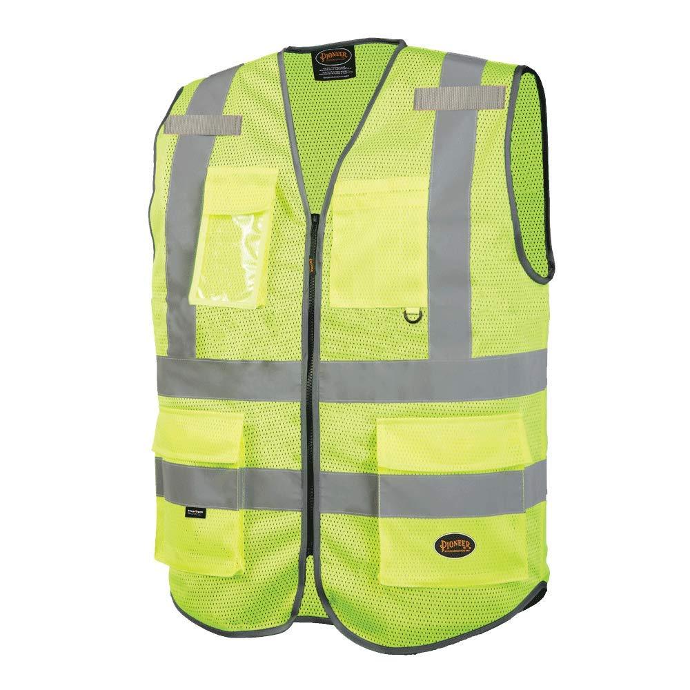 Pioneer Safety Vest for Men – Hi Vis Reflective Mesh Neon, 9 Pockets, Zipper - Construction, Traffic, Security Work – Orange, Yellow/Green