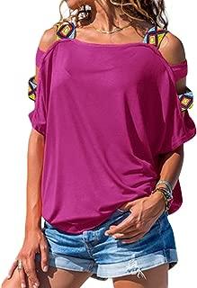 Cold Shoulder Short Sleeve T-Shirt Women Cut Out Tops Summer Causal Tees
