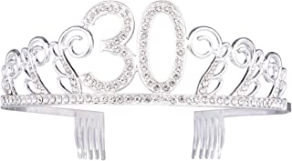 Frcolor 30th Birthday tiara cristallo STRASS donne 40th Birthday Crown con pettini (argento)