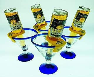 Mexican Glass Margarita Blue Rim 15 Oz with Coronarita Clips Corona Beer Holders (Set of 4)