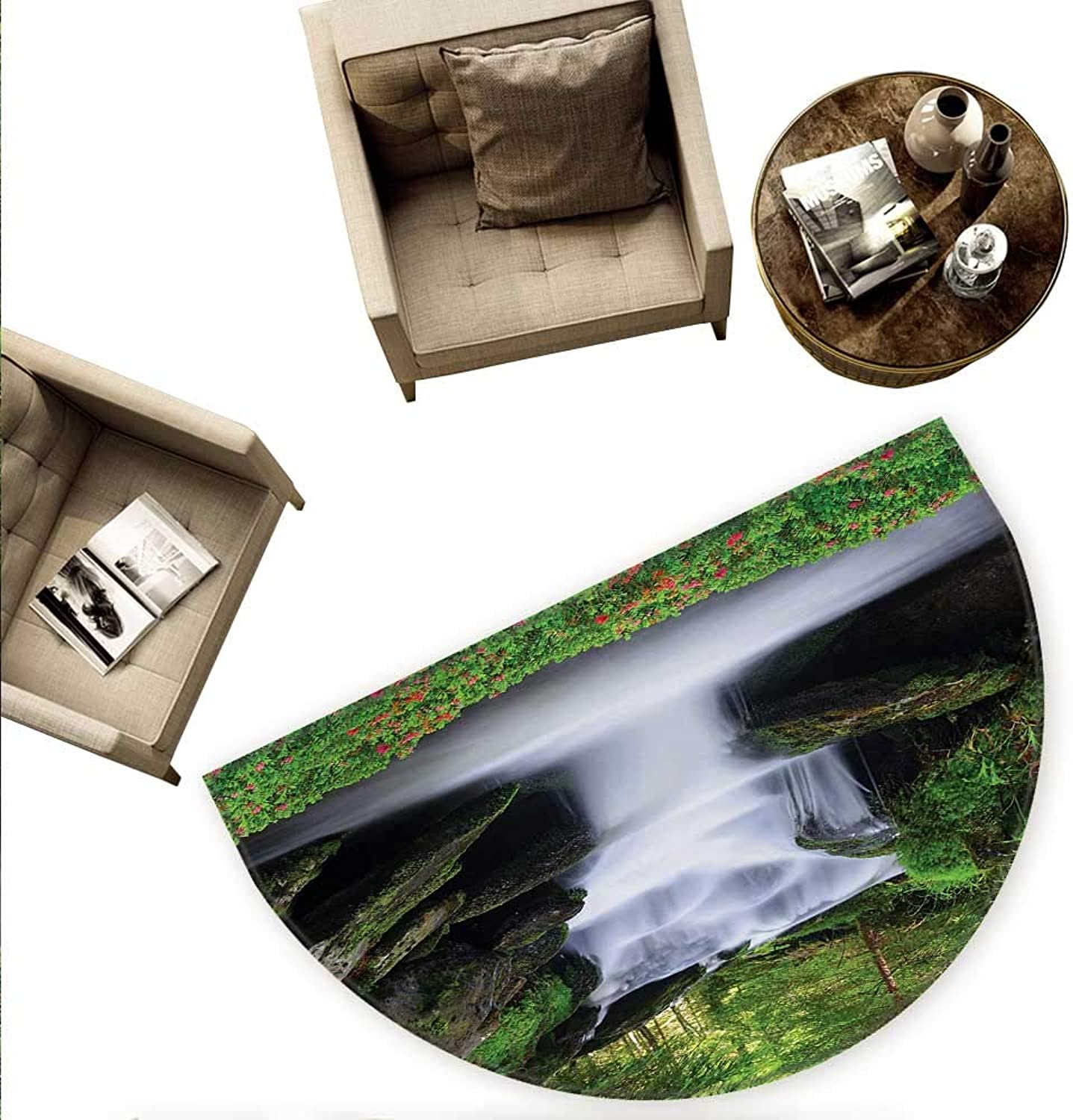 Waterfall Semicircular Cushion Dream Like Image of Waterfall with Trees and Flowers in Forest Mother Nature Entry Door Mat H 78.7  xD 118.1  Green White