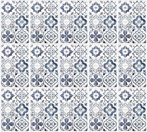 infactory Fliesenkleber: Selbstklebende 3D-Bordüre-Fliesenaufkleber, blau, 30 x 20 cm, 15er-Set (Design-Fliesen-Aufkleber)
