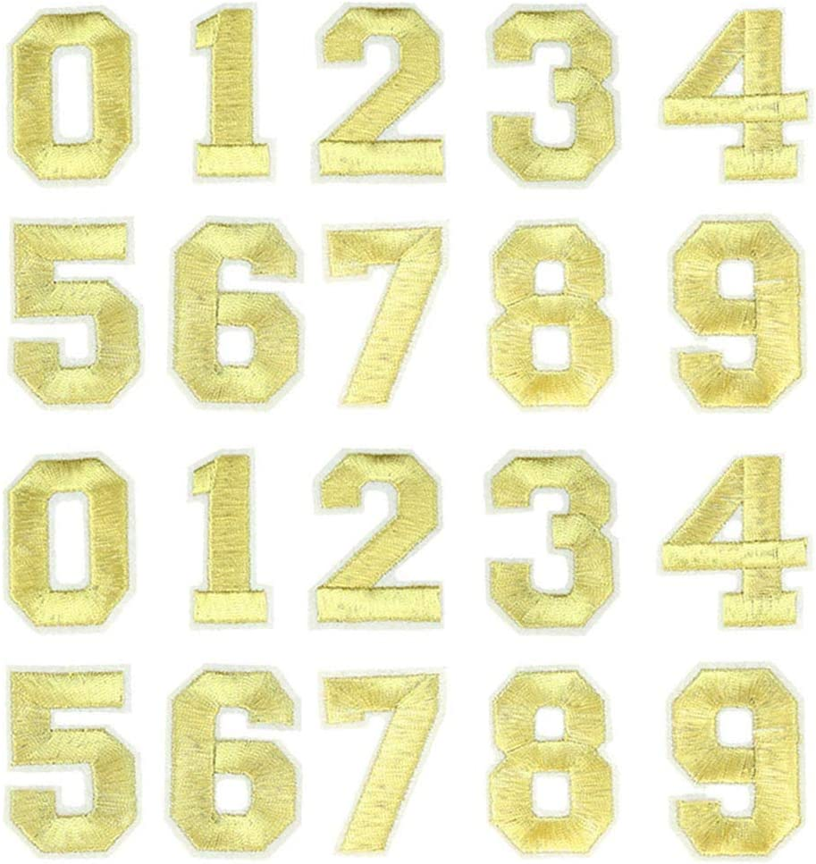 Black 2 Sets Number Patches Set Number Appliques 0-9 Iron On Stickers Sew On Decals Iron On Numbers for Jerseys Varsity Jacket Fabric Embroidered DIY Decorations Craft Project Accessories 2.0 Inch