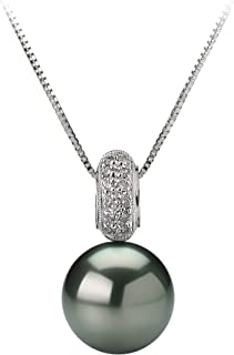 Cecilia Black 10-10.5mm AAA Quality Tahitian 14K White Gold Cultured Pearl Pendant