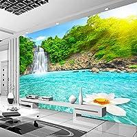 自然の風景3D壁壁画森の滝プール写真壁紙部屋風景リビングルームソファ背景壁-200x140cm