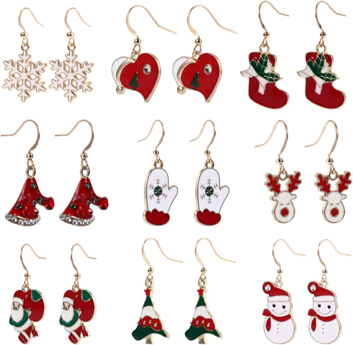 Healifty 9 Pairs Christmas Earrings Santa Claus Elk Snowman Christmas Tree Dangle Earrings Holiday Jewelry Set for Christmas Costumes Accessories