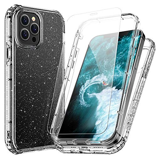 FLOVEME Case Compatible with iPhone 12 iPhone 12 Pro Case with Screen Protector (2 Pack) 6.1 inch 2 in 1 Transparent Glitter Phone Cases Compatible for iPhone 12 iPhone 12 Pro Case for Women