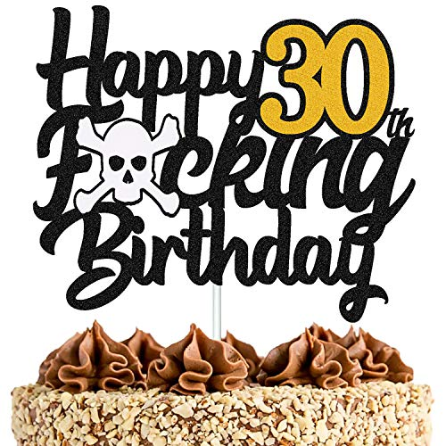30 Birthday Cake Topper Happy 30th Birthday Cake Decoration for Men Women Him Her Thirty Years Old Bday Party Supplies Black Glitter Décor