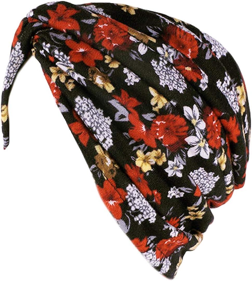 Giovacker Women Pleated Turban Max 48% OFF Hat Wrap Head Stretchy Muslim Hea Genuine
