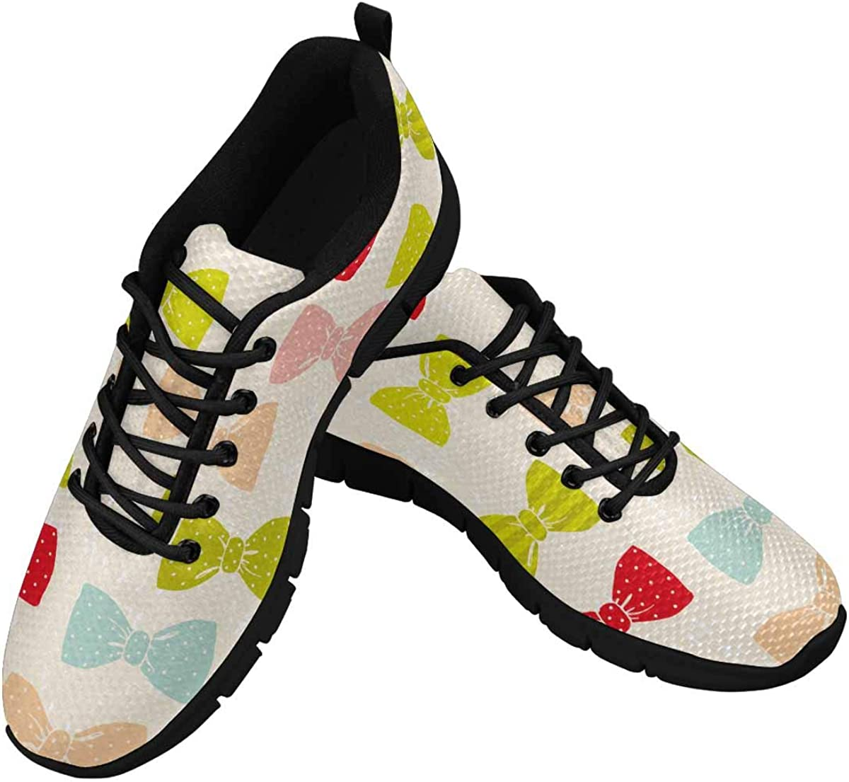 INTERESTPRINT Colorful Red Blue Pink Bow Ties Women's Lace Up Running Comfort Sports Sneakers