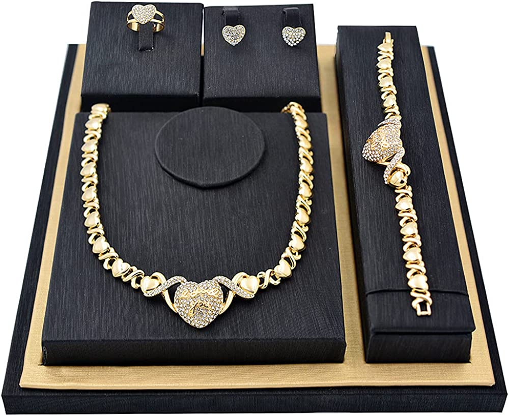 Giffor Jewellery Lady 14K Gold Filled XOXO Jewelry sets for Women Bracelets Necklaces With Earrings Gifts