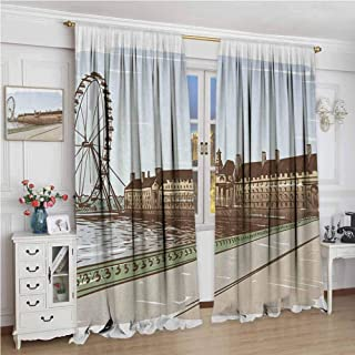 GUUVOR London Heat Insulation Curtain Buckingham Palace Historical Building Thames River Ferris Wheel Pencil Drawing Art for Living Room or Bedroom W108 x L72 Inch Multicolor