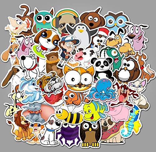 Animales de dibujos animados Graffiti Impermeable Monopatín Viaje Maleta Teléfono Portátil Equipaje Pegatinas Lindo Niños Niña Juguetes 50 Piezas