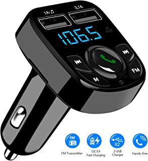 SOOTEWAY Handsfree Call Car Charger,Wireless Bluetooth FM Transmitter Radio Receiver,Mp3 Music Stereo Adapter,Dual USB Port Charger Compatible for All Smartphones,Samsung Galaxy,LG,HTC,etc.