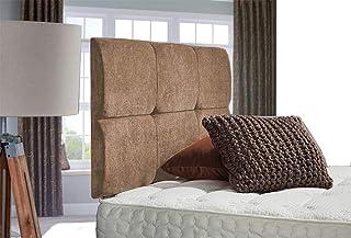 H-Cube Furniture Cube Design Divan łóżko podstawa zagłówek szenila tkanina pasujące diamenty guziki (Mink - Diamante 3 FT ...