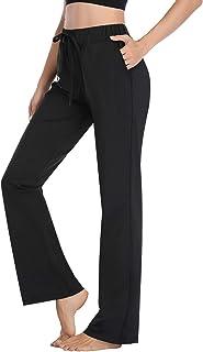HISKYWIN Casual Comfy Drawstring Yoga Pants 4 Way Stretch Tummy Control Workout Running Pants, Long Bootleg Flare Pants