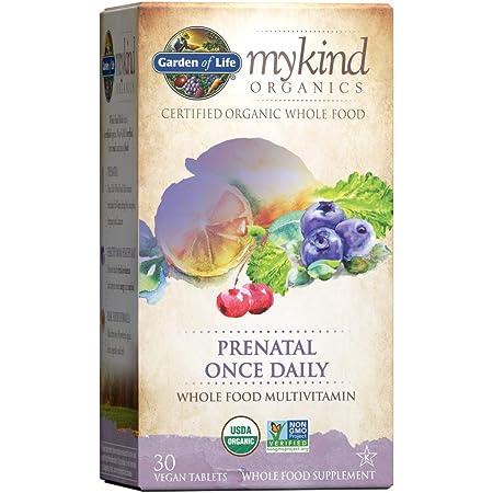 Garden of Life mykind Organics Prenatal Vitamins - 30 Tablets, Prenatal Once Daily Whole Food Vitamins for Women with Folate not Folic Acid, Vitamin D3, Iron, Vegan One a Day Prenatal Multivitamin