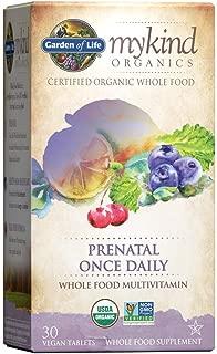 Garden of Life Organic Prenatal Multivitamin Supplement with Folate - mykind Prenatal Once Daily Whole Food Vitamin, Vegan, Organic, Non-GMO & Kosher, 30 Tablets