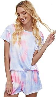 Womens Printed Short Sleeve Tops and Shorts 2 Piece Pajamas Sets