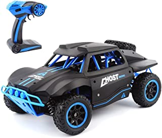 RC Cars 1/18 Scale 4WD High Speed Rock Crawler Vehicle 15.5MPH+ 2.4Ghz Radio Remote Control Off Road RTR Racing Monster Trucks Short Course Ghost Black & Blue
