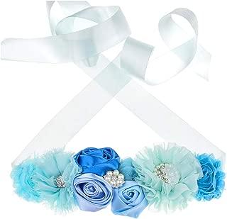Floral Fall Flower Maternity Pregnancy Sash Baby Shower Gift Photo Prop Girls Bridal Rhinestone Belt SH-19
