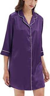 Womens Sleepshirt Satin Nightshirt Button Down Nightgown Sleepwear Summer Slip Night Dress S-XL