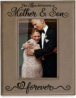 KATE POSH The Love Between a Mother & Son is Forever Engraved Leather Picture Frame, Mother of The Groom, Best Mom Ever, First Mother's Day, Mommy & Me Gifts (5