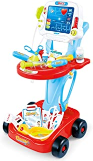 Doctor Cart Toy Set, Medical Kit w/Light Sounds, Stethoscope Scanner, Circulating Water Outlet, Doctor Accessories for Kid...