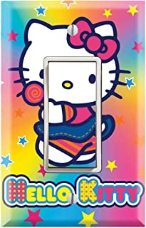 Single Rocker Wall Switch/Outlet Cover Plate Decor Wallplate - Hello Kitty Rainbow Stars