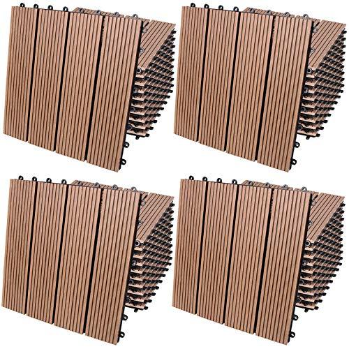 Deuba WPC Fliesen Klassik Terrakotta 4m² Set 30x30 cm Stecksystem Zuschneidbar Terrasse Balkon Garten Klickfliesen