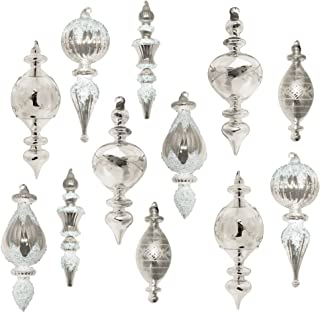 LANGDON MILLS Set of 12 Large Christmas Tree Ornaments, Silver Etched or Beaded Glass, Heirloom Quality