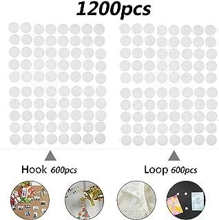 600 Pares Velcro Adhesivo Redondo, Lunares Adhesivo 10mm Velcro Adhesivo Cintas Autoadhesivo Puntos Pegajoso Monedas Puntos (Blanco)