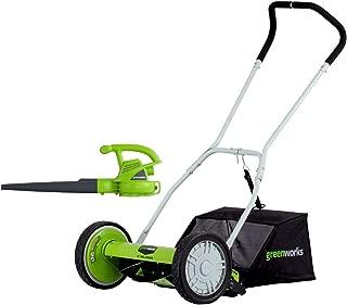 GreenWorks 16-Inch Reel Lawn Mower with Grass Catcher + 7 AMP Blower 1303802AZ