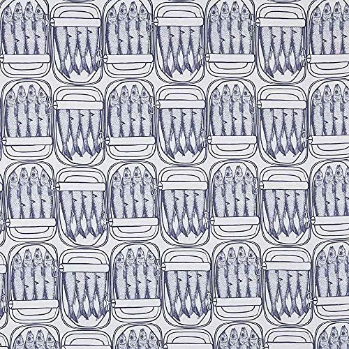 Kt KILOtela Tela de loneta Estampada Digital - Half Panamá 100% algodón - Retal de 100 cm Largo x 280 cm Ancho   Latas de conserva de sardinas - Azul ─ 1 Metro