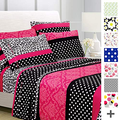 American Home Collection Deluxe 4 Piece Printed Sheet Set Brushed Fabric, Deep Pocket Wrinkle Resistant - Hypoallergenic (Twin, Multi Cheetah-Dot-Paisley)