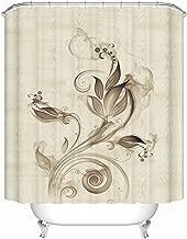 Sea&Cloud Beige Floral Shower Curtain Waterproof Polyester,Vintage Art Decorative Fabric Liner for Bathroom 180x180cm