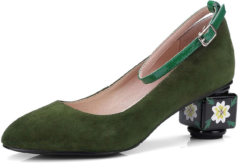 colorful Dream- Kid Suede Women Pumps Strange Style Round Toe High Heels Footwear Spring Buckle