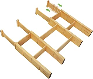 JSVER Séparateurs de Tiroir Ajustable, (Lot De 4)Bambou Organisateurs de Tiroir Réglables(29.5 - 43.5cm) Diviseurs de Tiro...