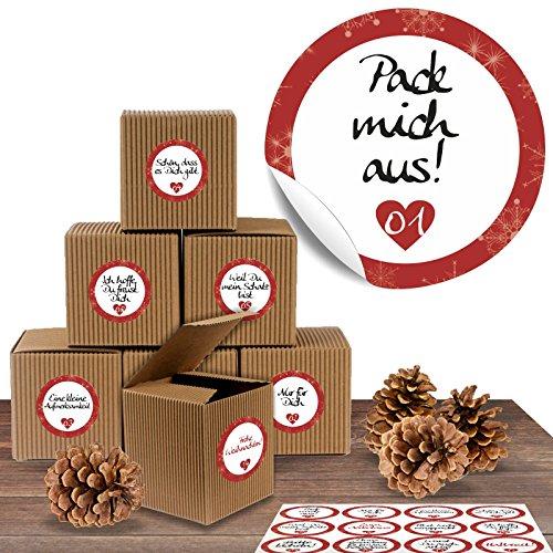 """Adventskalender Set aus 24 rustikalen Boxen und 24 weihnachtlichen Zahlenaufklebern """"Liebevolle Botschaften"""" zum Basteln und Befüllen"""