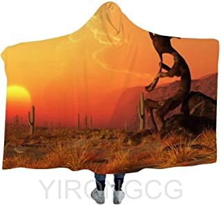 YIRONGCG Warm Hooded Blanket Cloak,Kokopelli Southwestern Style Native American Eastern Ancient Belief Wearable Hoodies Blankets Thick Couch Bed Shawl for Kids Adult