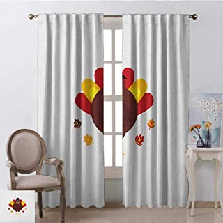 GUUVOR Turkey 99% Blackout Curtains Cartoon Style Pilgrim Bird with Hat Fun Animal Character American Tradition for Bedroom Kindergarten Living Room W100 x L84 Inch Maroon Red Yellow