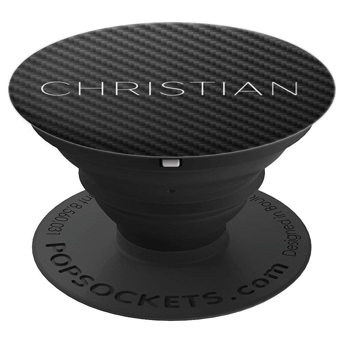 Christian Name Personalized Birthday Men Boys Carbon Gift - PopSockets Grip and Stand for Phones and Tablets
