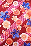 Japanese Kimono Printed Fabric, Japanese Traditional pattarn, for Your Hand Making,Famous for Asian lungi (Red ume)