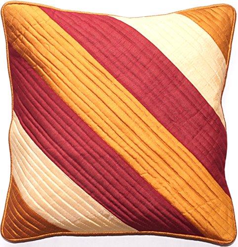Ruwado roodachtig bruin en oker Dupion zijden kussensloop met rand | Kussensloop | Sofakussensloop | Decoratiekussen | Sierkussen uit India - 40 x 40 cm
